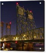 Columbia Crossing I-5 Interstate Bridge At Night Acrylic Print