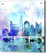 Columbus  Watercolor Skyline Acrylic Print