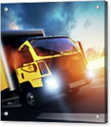 Commercial Cargo Delivery Truck With Trailer Driving On Highway At Sunset. Acrylic Print