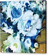 Contemporary Floral In Blue And White Acrylic Print