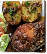 Cordon Bleu Breaded Fried Chicken Gravy And Potatoes Meal Acrylic Print