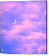 Crescent Moon Behind Cirrus Cloud In The Evening Acrylic Print