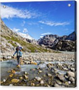 Crossing A River In Patagonia Acrylic Print