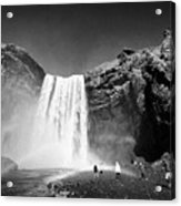 Crowds Of Tourists At Skogafoss Waterfall In Iceland Acrylic Print