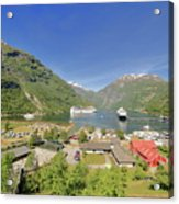Cruise In Geiranger Fjord Norway Acrylic Print