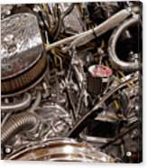 Custom Car Chromed Engine Acrylic Print