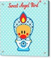 Cute Art - Blue Polka Dot Folk Art Sweet Angel Bird In A Nesting Doll Costume Wall Art Acrylic Print