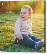 Cute Baby Boy Outdoors Acrylic Print