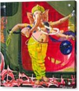Dancing Ganapati With Universe And Abstract Back Ground Acrylic Print