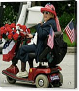 Patriotic Lady On A Scooter Acrylic Print