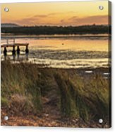 Dawn Waterscape And Wharf Acrylic Print