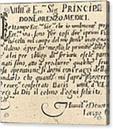 Dedication To Don Lorenzo De' Medici Acrylic Print