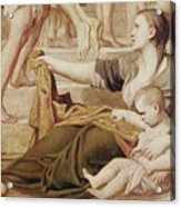 Detail Of Saint Cecilia Distributing Alms Acrylic Print