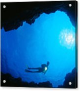 Diver At Cavern Entrance Acrylic Print