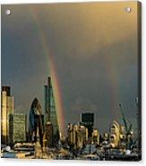 Double Rainbow Over The City Of London Acrylic Print