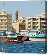 Dubai Creek And Abra Boats Acrylic Print