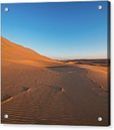 Dune With Magnificent Sandy Waves At Hot And Windy Morning In Desert  Acrylic Print