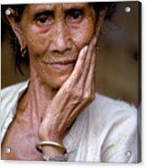 Elderly Woman In Laos Acrylic Print
