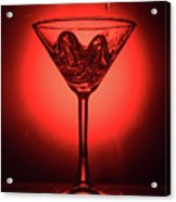 Empty Cocktail Glass On Red Background Acrylic Print