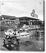 Empty Outdoor Amusement Park On A Cold Wet British Summer Day North Wales Uk Acrylic Print