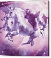 Epic Space Sloth Riding On Unicorn Acrylic Print