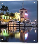 Evening At The Twin Dolphin Marina Acrylic Print
