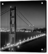 Evening Cityscape Of Golden Gate Bridge - Monochrome Acrylic Print