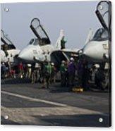 F-14d Tomcats On The Flight Deck Of Uss Acrylic Print