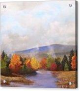 Fall Pond Scene Acrylic Print by Ken Ahlering