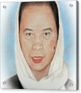 Filipina Woman Wearing A Scarf Acrylic Print