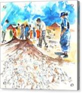 Fishermen In Praia De Mira Acrylic Print