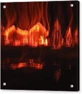 Flaming Houses Lights Water Reflection Christmas Arizona City Arizona 2005 Acrylic Print
