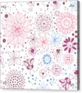 Floral Doodles Acrylic Print