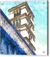 Foreshortening With Bell Tower Acrylic Print