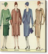 Four Flappers Modelling French Designer Outfits, 1928  Acrylic Print