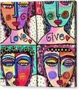 Four Gemstone Angels  Acrylic Print by Sandra Silberzweig
