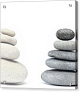 Four Stacks Of Multi-colored To Black Pebbles Acrylic Print