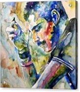 Freddie Mercury Watercolor Acrylic Print