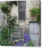 French Staircase With Flowers Acrylic Print