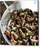 Fried Shiitake Mushrooms In Garlic Herb And Olive Oil Snack Acrylic Print