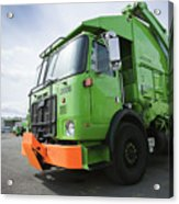 Garbage Truck Parked In A Parking Lot Acrylic Print by Don Mason