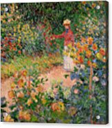 Garden At Giverny Acrylic Print by Claude Monet