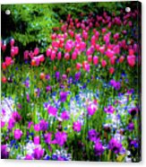 Garden Flowers With Tulips Acrylic Print