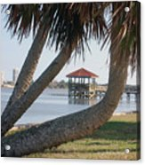 Gazebo Dock Framed By Leaning Palms Acrylic Print