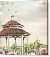 Gazebo In Summer Flower Garden Acrylic Print