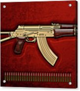 Gold A K S-74 U Assault Rifle With 5.45x39 Rounds Over Red Velvet   Acrylic Print