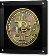 Gold Bitcoin Effigy Over Black Canvas Acrylic Print