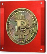Gold Bitcoin Effigy Over Red Canvas Acrylic Print
