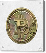 Gold Bitcoin Effigy Over White Leather Acrylic Print