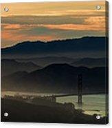 Golden Gate Bridge And San Francisco Bay At Sunset Acrylic Print